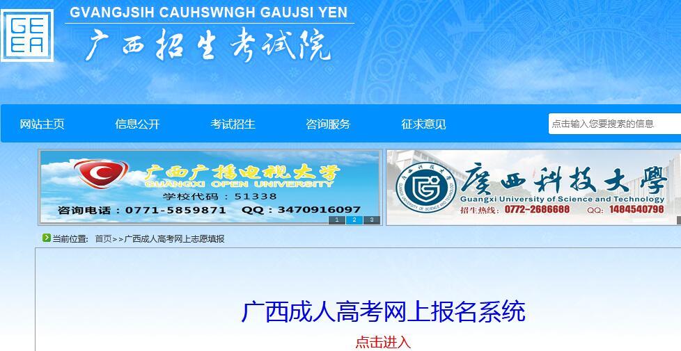 广西招生考试院2020年广西成人高考报名系统入口