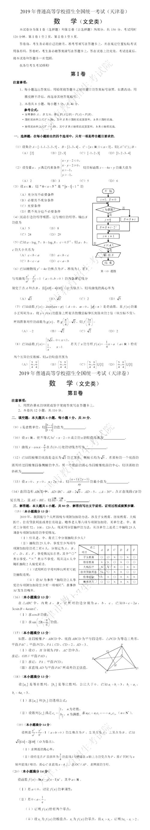 2019年天津高考文数学试卷