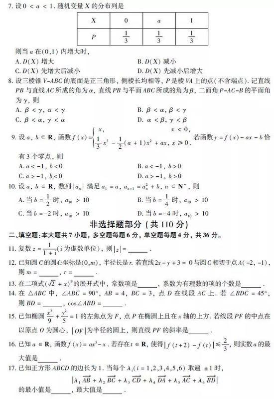 2019年浙江betway官网手机版数学试卷