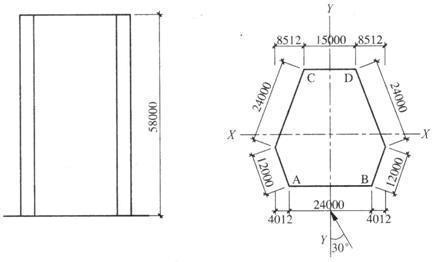 某15层框架一剪力墙结构,屋顶lm高度范围内y向的风荷载标准值wk,与