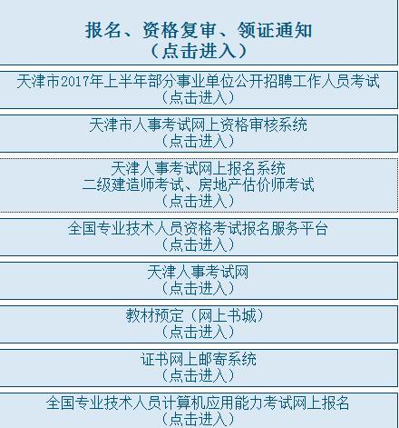 2017年天津市二级建造师成绩查分网址