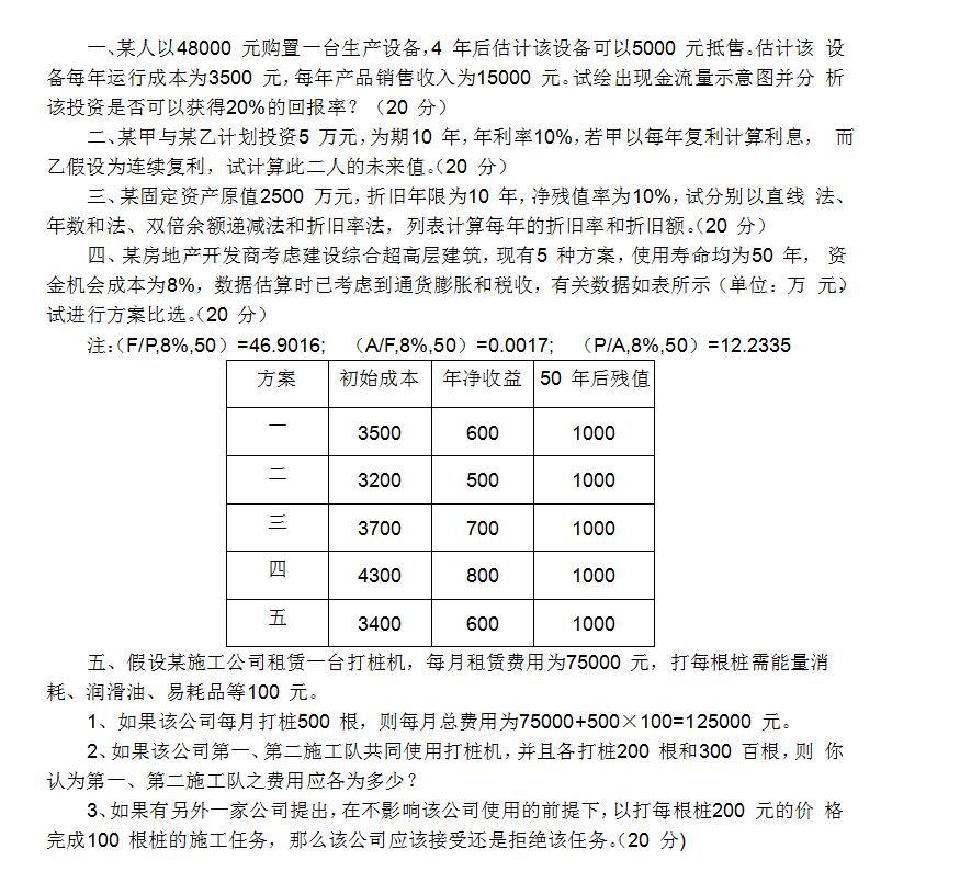 2019工程经济学变化_2019年考研工程经济学基础试题10