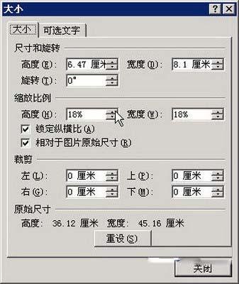 """选择Word 2007""""大小""""命令"""