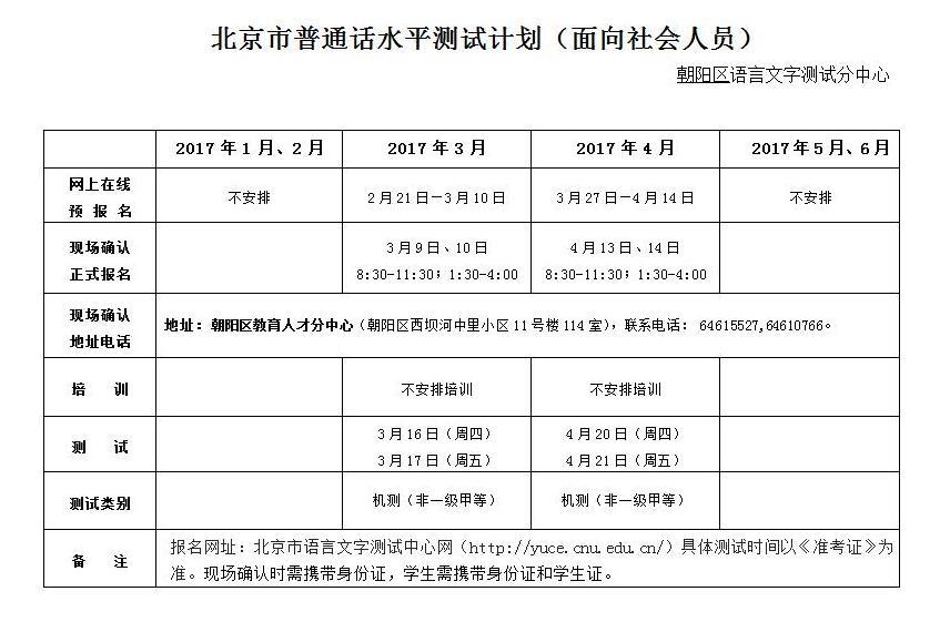 2017年1-6月北京市普通话水平测试计划安排(面向社会人员)