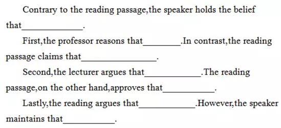 新托福综合写作模板:论点支持观点的方式