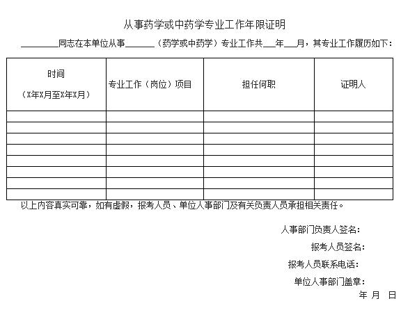 2017年执业药师报名工作证明填写及模板下载
