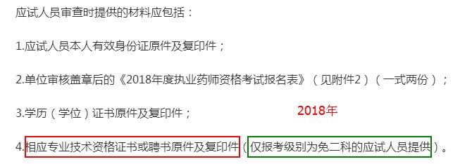山东省2018年执业药师考试报名审核材料变化