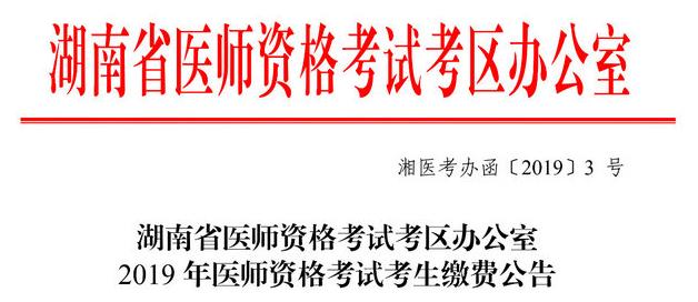 湖南2019年执业医师考试网上缴纳报名费时间