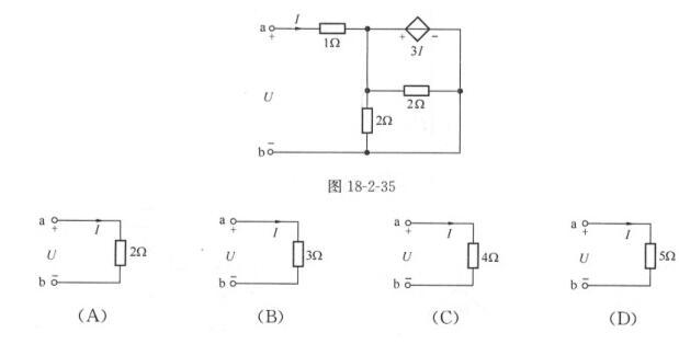 7.图18-2-35示含受控源电路的等效电路应是( ).