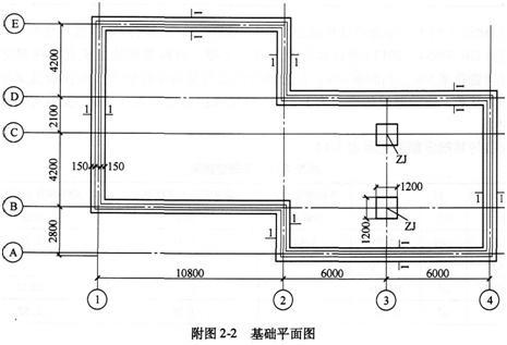 某工程基础平面图如图2,现浇钢筋混凝土带形基础,独立