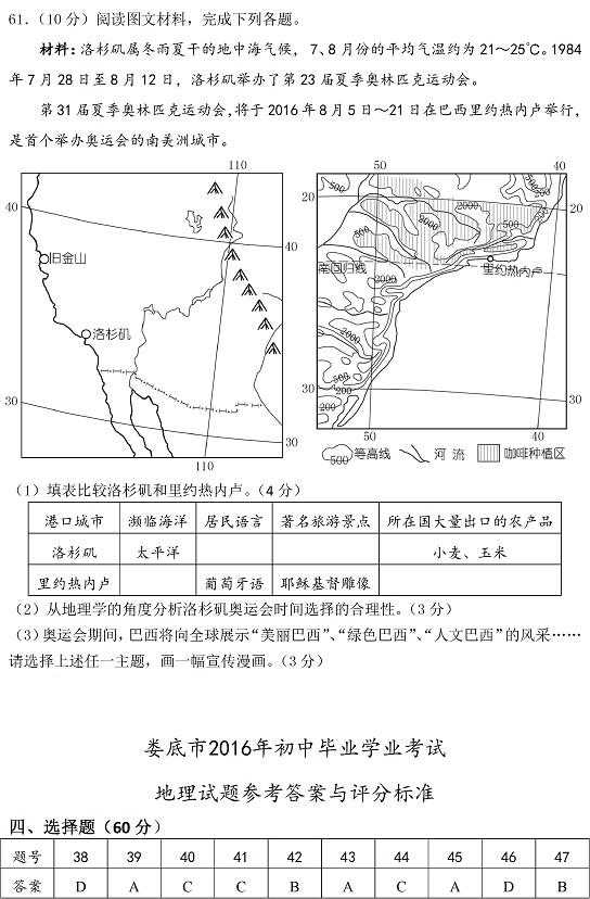 2016年湖南娄底中考地理试题及答案_第6页